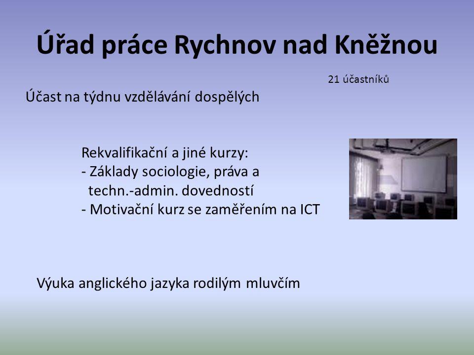 Úřad práce Rychnov nad Kněžnou Účast na týdnu vzdělávání dospělých Rekvalifikační a jiné kurzy: - Základy sociologie, práva a techn.-admin. dovedností