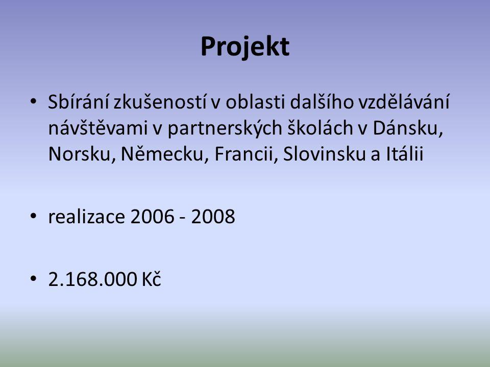 Projekt • Sbírání zkušeností v oblasti dalšího vzdělávání návštěvami v partnerských školách v Dánsku, Norsku, Německu, Francii, Slovinsku a Itálii • r