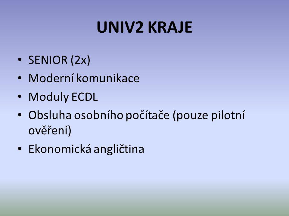 UNIV2 KRAJE • SENIOR (2x) • Moderní komunikace • Moduly ECDL • Obsluha osobního počítače (pouze pilotní ověření) • Ekonomická angličtina