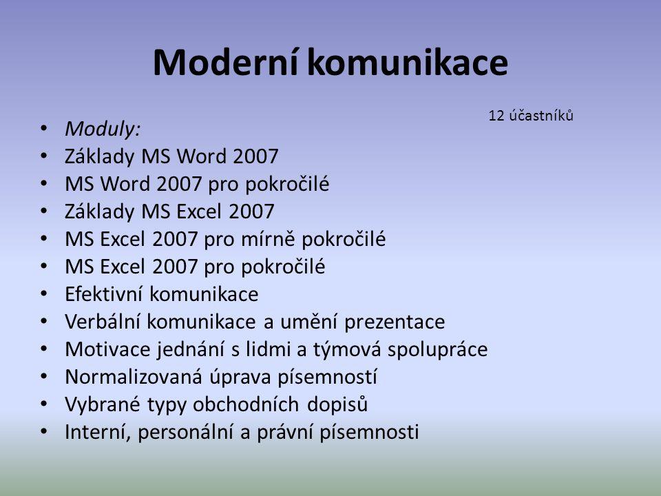 Moderní komunikace • Moduly: • Základy MS Word 2007 • MS Word 2007 pro pokročilé • Základy MS Excel 2007 • MS Excel 2007 pro mírně pokročilé • MS Exce