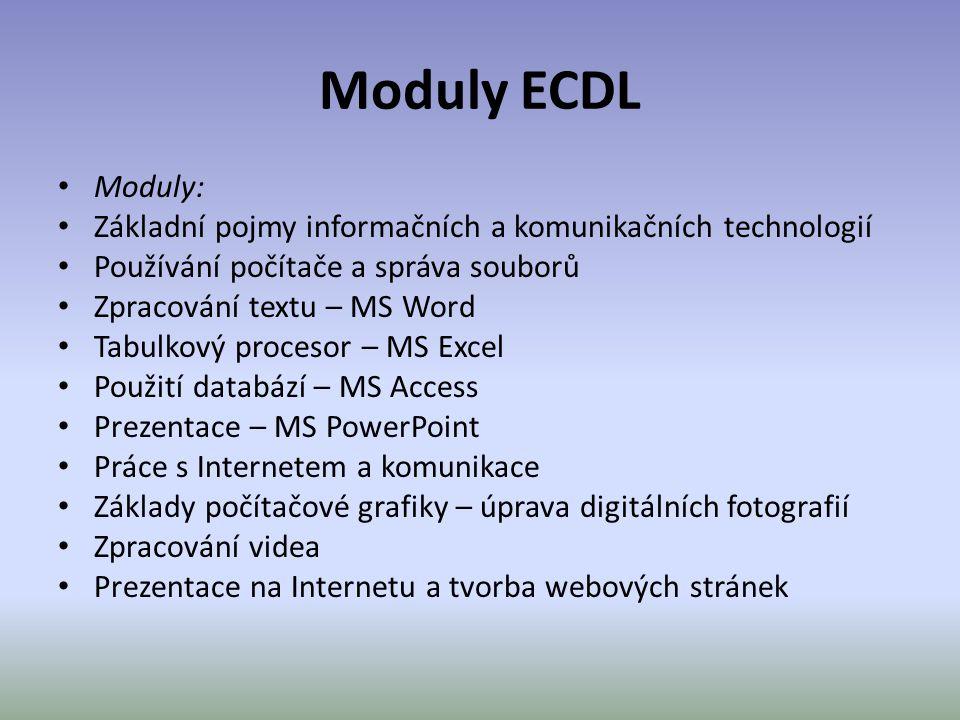 Moduly ECDL • Moduly: • Základní pojmy informačních a komunikačních technologií • Používání počítače a správa souborů • Zpracování textu – MS Word • T