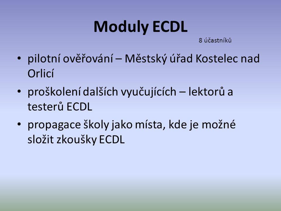 Moduly ECDL • pilotní ověřování – Městský úřad Kostelec nad Orlicí • proškolení dalších vyučujících – lektorů a testerů ECDL • propagace školy jako mí