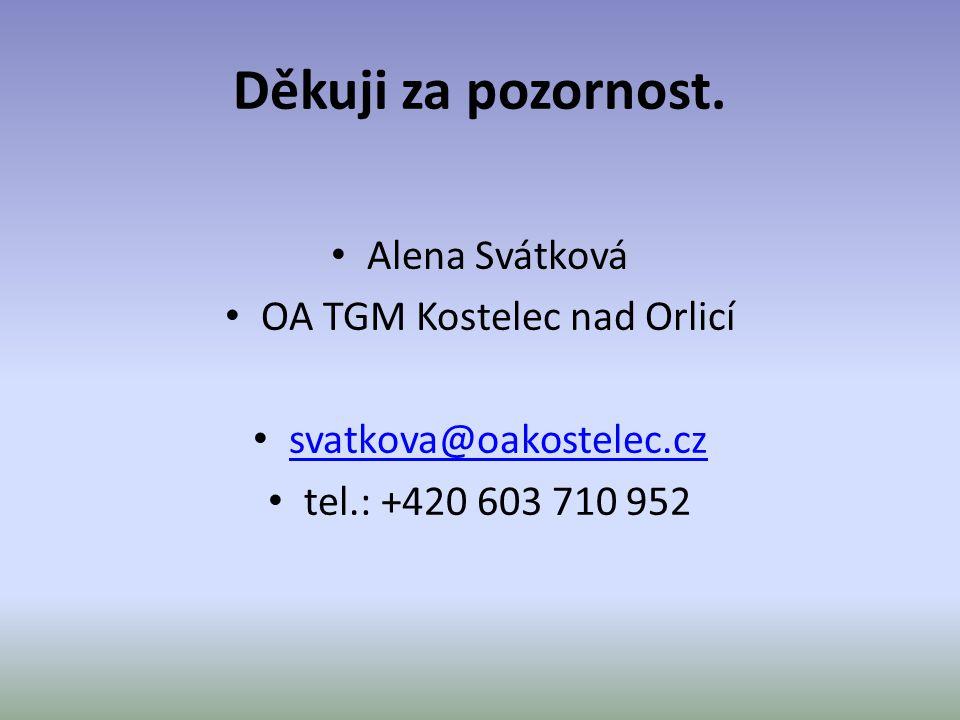 Děkuji za pozornost. • Alena Svátková • OA TGM Kostelec nad Orlicí • svatkova@oakostelec.cz svatkova@oakostelec.cz • tel.: +420 603 710 952