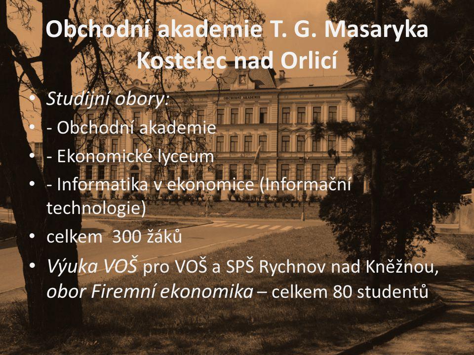 Obchodní akademie T. G. Masaryka Kostelec nad Orlicí • Studijní obory: • - Obchodní akademie • - Ekonomické lyceum • - Informatika v ekonomice (Inform