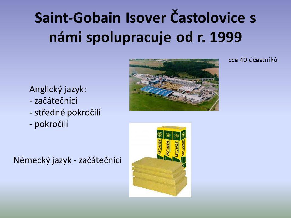 Saint-Gobain Isover Častolovice s námi spolupracuje od r. 1999 Anglický jazyk: - začátečníci - středně pokročilí - pokročilí cca 40 účastníků Německý