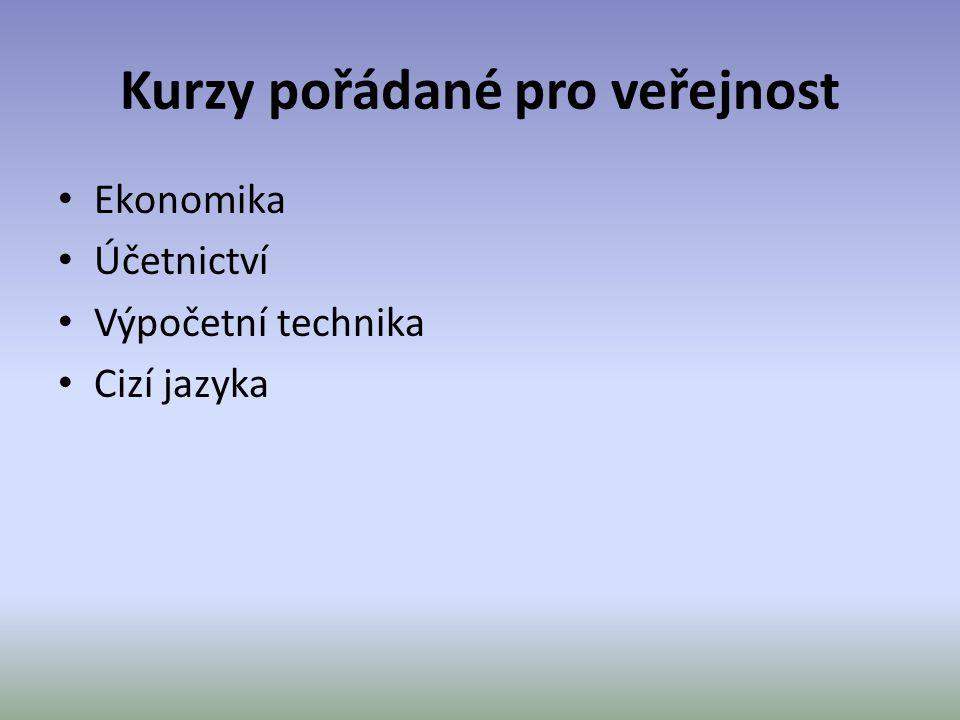 Kurzy pořádané pro veřejnost • Ekonomika • Účetnictví • Výpočetní technika • Cizí jazyka