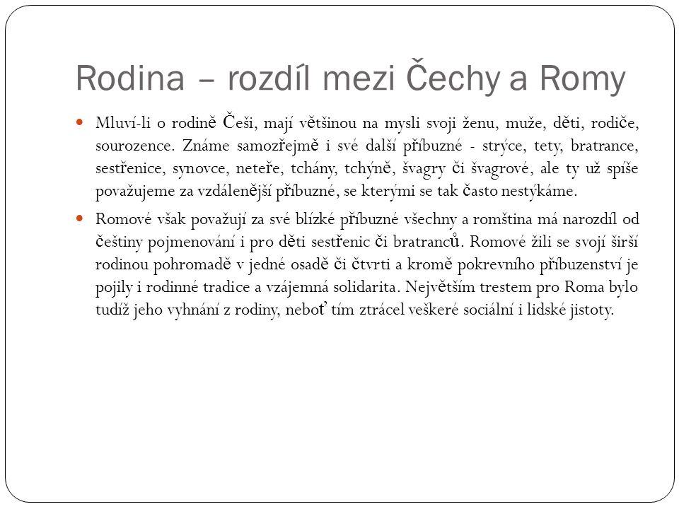 Rodina – rozdíl mezi Čechy a Romy  Mluví-li o rodin ě Č eši, mají v ě tšinou na mysli svoji ženu, muže, d ě ti, rodi č e, sourozence. Známe samoz ř e