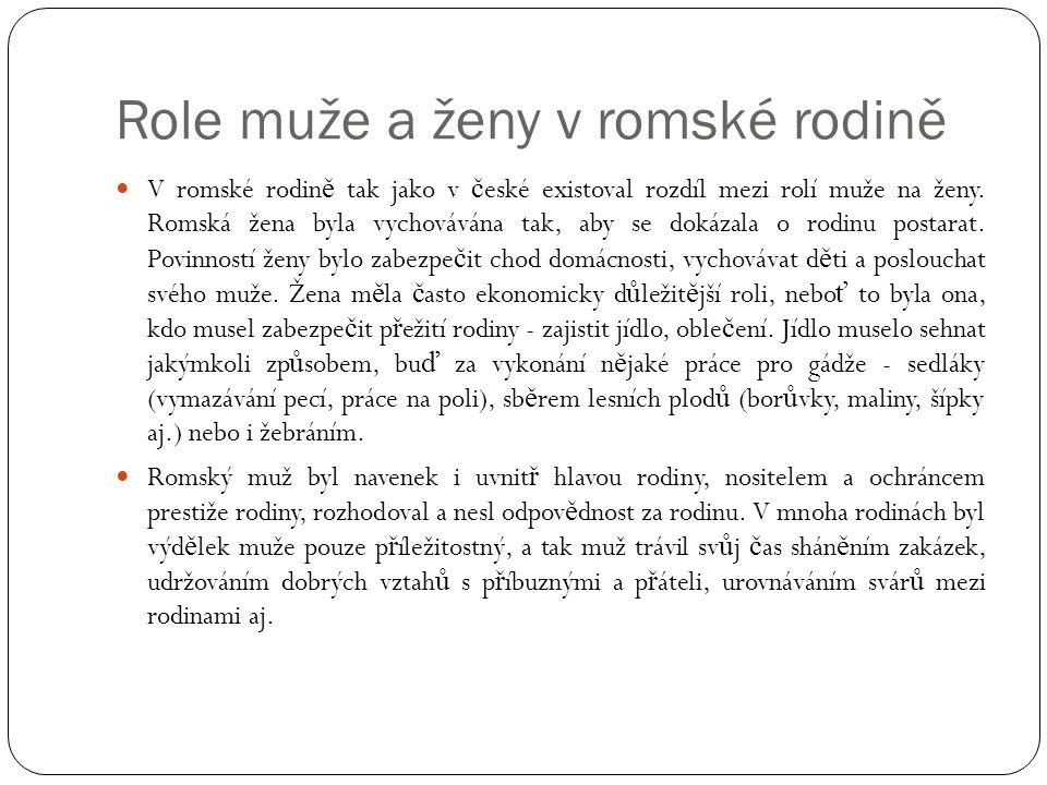 Role muže a ženy v romské rodině  V romské rodin ě tak jako v č eské existoval rozdíl mezi rolí muže na ženy. Romská žena byla vychovávána tak, aby s