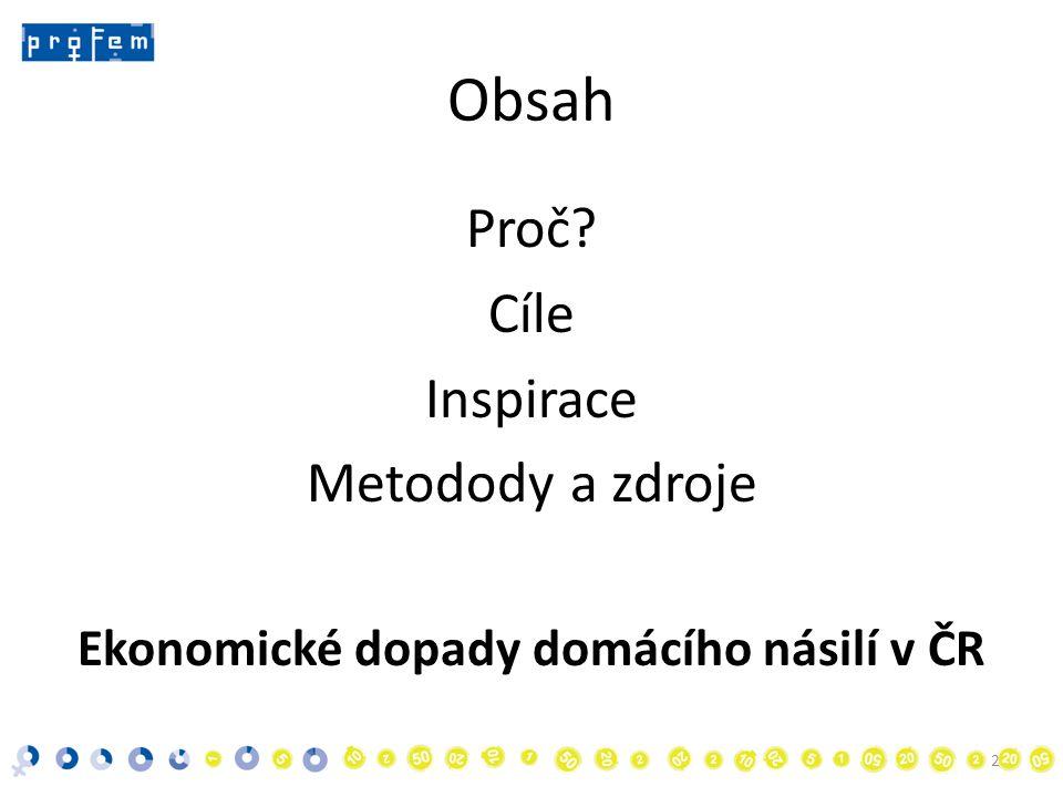Obsah Proč Cíle Inspirace Metodody a zdroje Ekonomické dopady domácího násilí v ČR 2
