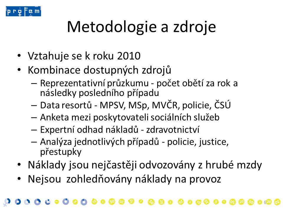 Metodologie a zdroje • Vztahuje se k roku 2010 • Kombinace dostupných zdrojů – Reprezentativní průzkumu - počet obětí za rok a následky posledního případu – Data resortů - MPSV, MSp, MVČR, policie, ČSÚ – Anketa mezi poskytovateli sociálních služeb – Expertní odhad nákladů - zdravotnictví – Analýza jednotlivých případů - policie, justice, přestupky • Náklady jsou nejčastěji odvozovány z hrubé mzdy • Nejsou zohledňovány náklady na provoz 6