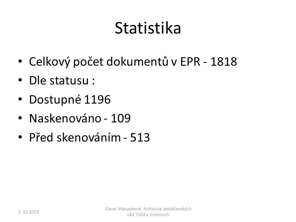 Statistika • Celkový počet dokumentů v EPR - 1818 • Dle statusu : • Dostupné 1196 • Naskenováno - 109 • Před skenováním - 513 Alena Matuszková, Knihov