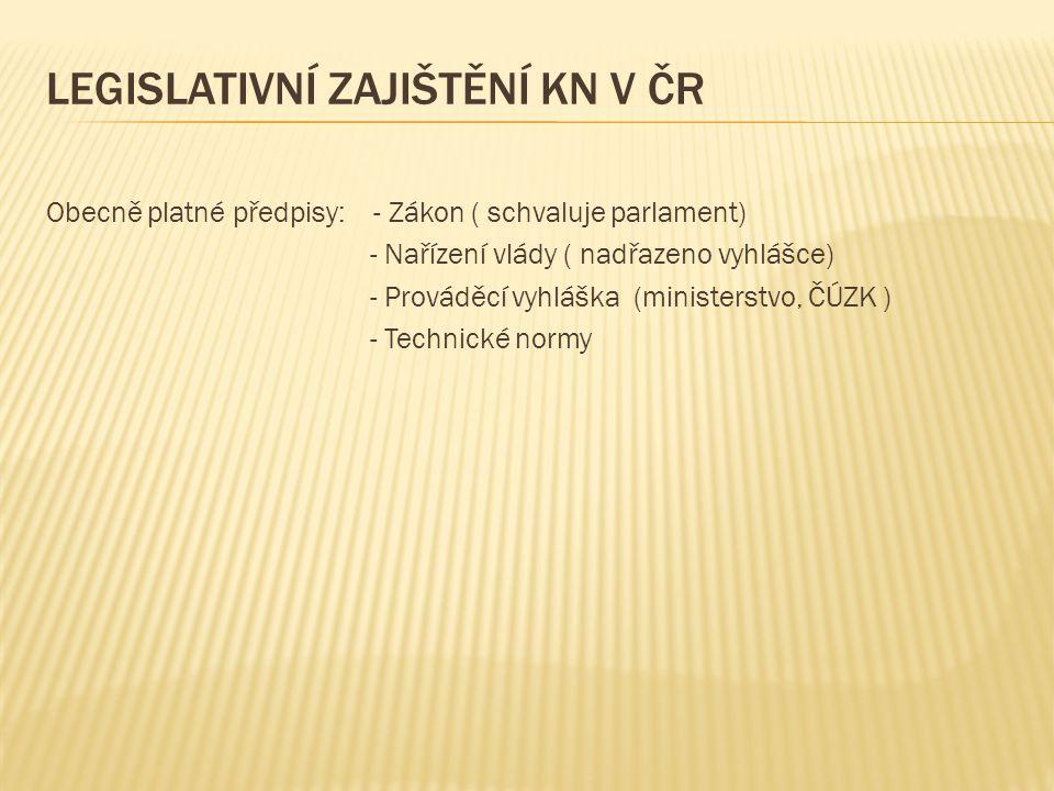 Obecně platné předpisy: - Zákon ( schvaluje parlament) - Nařízení vlády ( nadřazeno vyhlášce) - Prováděcí vyhláška (ministerstvo, ČÚZK ) - Technické n