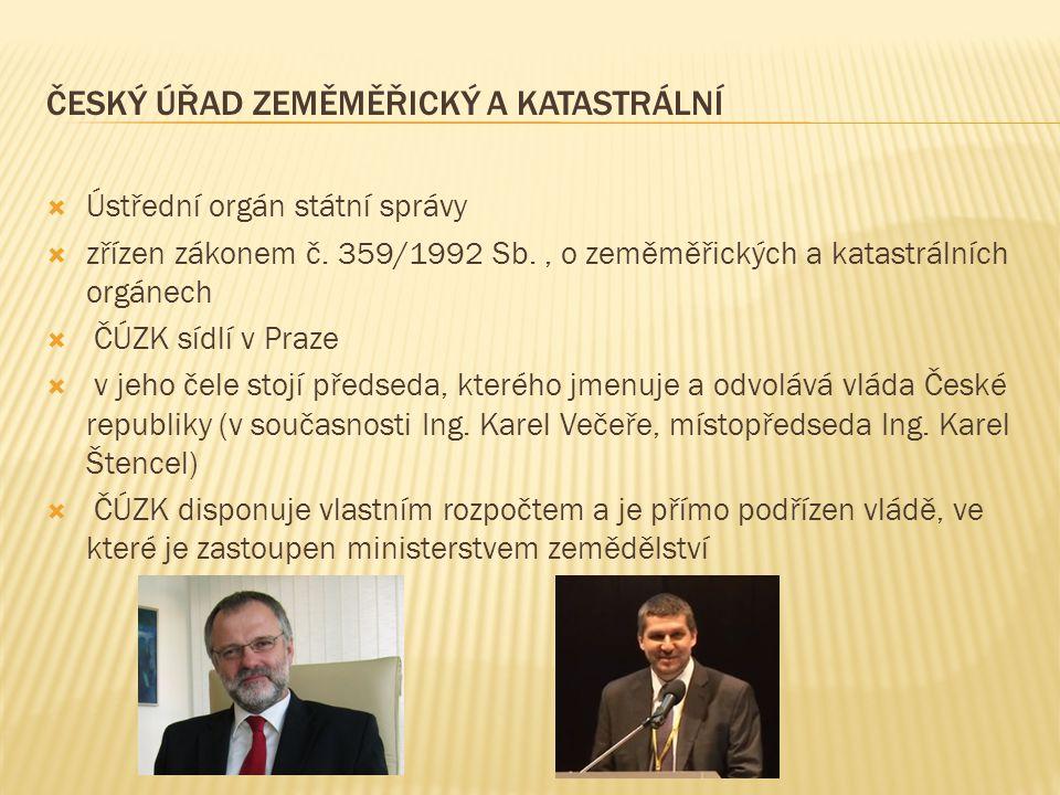  Ústřední orgán státní správy  zřízen zákonem č. 359/1992 Sb., o zeměměřických a katastrálních orgánech  ČÚZK sídlí v Praze  v jeho čele stojí pře