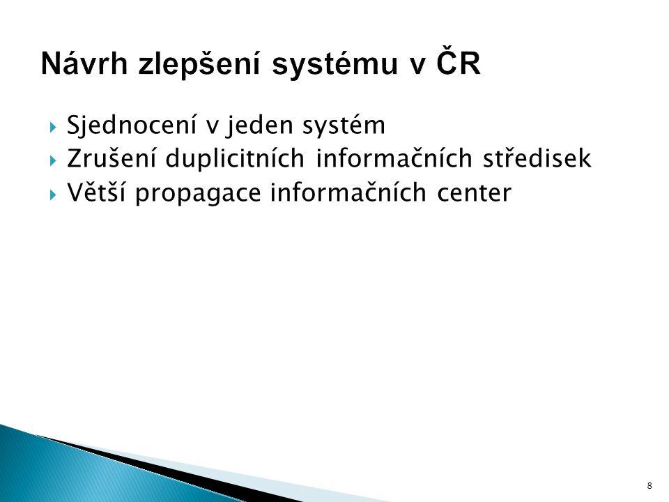  Sjednocení v jeden systém  Zrušení duplicitních informačních středisek  Větší propagace informačních center 8
