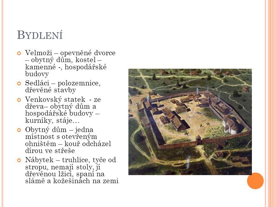B YDLENÍ Velmoži – opevněné dvorce – obytný dům, kostel – kamenné -, hospodářské budovy Sedláci – polozemnice, dřevěné stavby Venkovský statek - ze dř