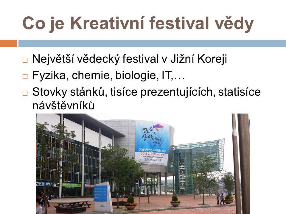 Co je Kreativní festival vědy  Největší vědecký festival v Jižní Koreji  Fyzika, chemie, biologie, IT,…  Stovky stánků, tisíce prezentujících, stat