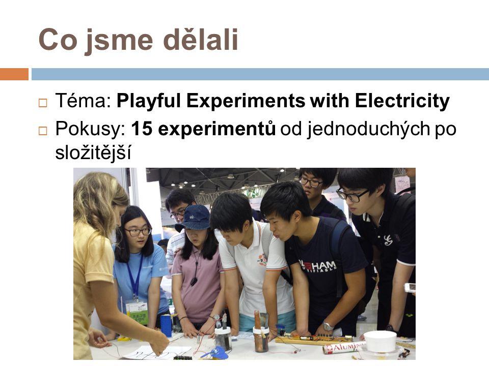 Co jsme dělali  Téma: Playful Experiments with Electricity  Pokusy: 15 experimentů od jednoduchých po složitější