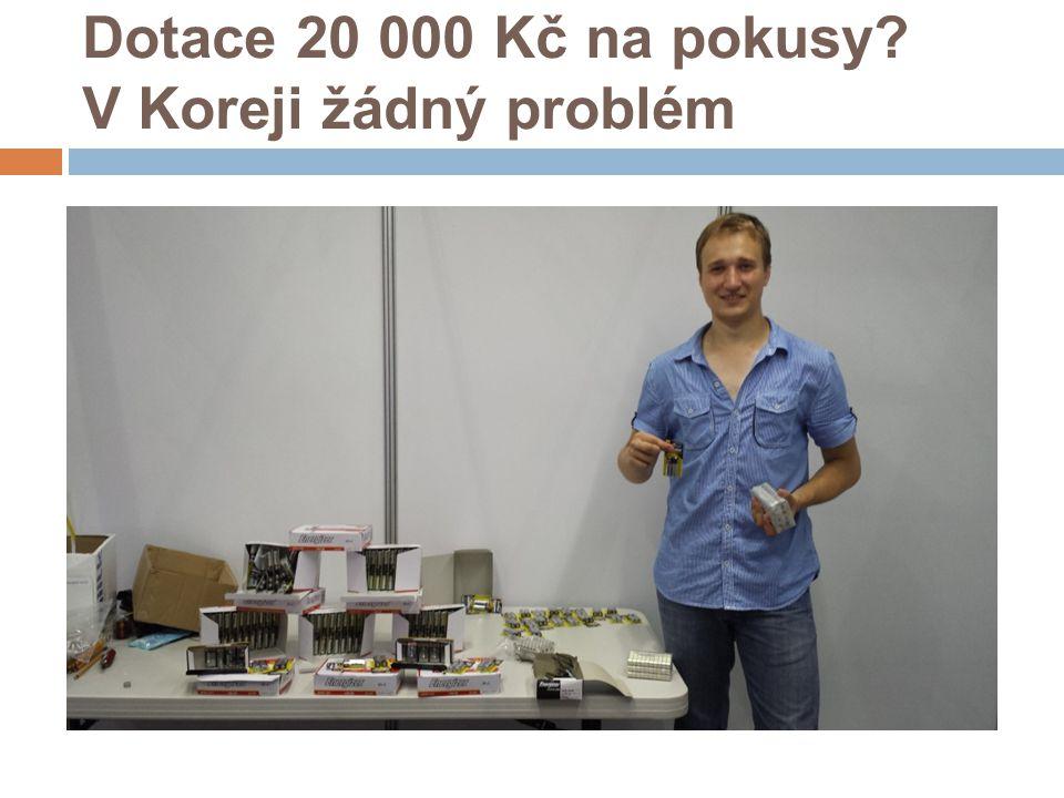Dotace 20 000 Kč na pokusy? V Koreji žádný problém