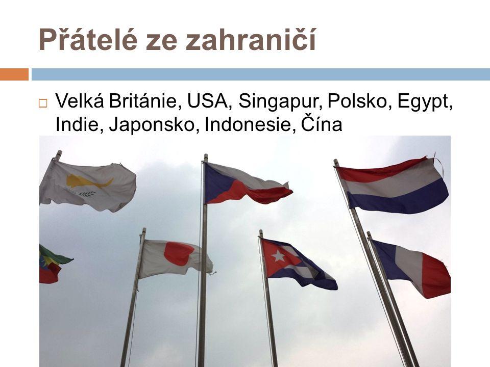 Přátelé ze zahraničí  Velká Británie, USA, Singapur, Polsko, Egypt, Indie, Japonsko, Indonesie, Čína