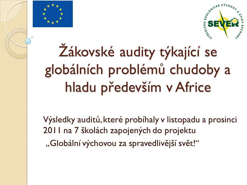 Žákovské audity týkající se globálních problémů chudoby a hladu především v Africe Výsledky auditů, které probíhaly v listopadu a prosinci 2011 na 7 š
