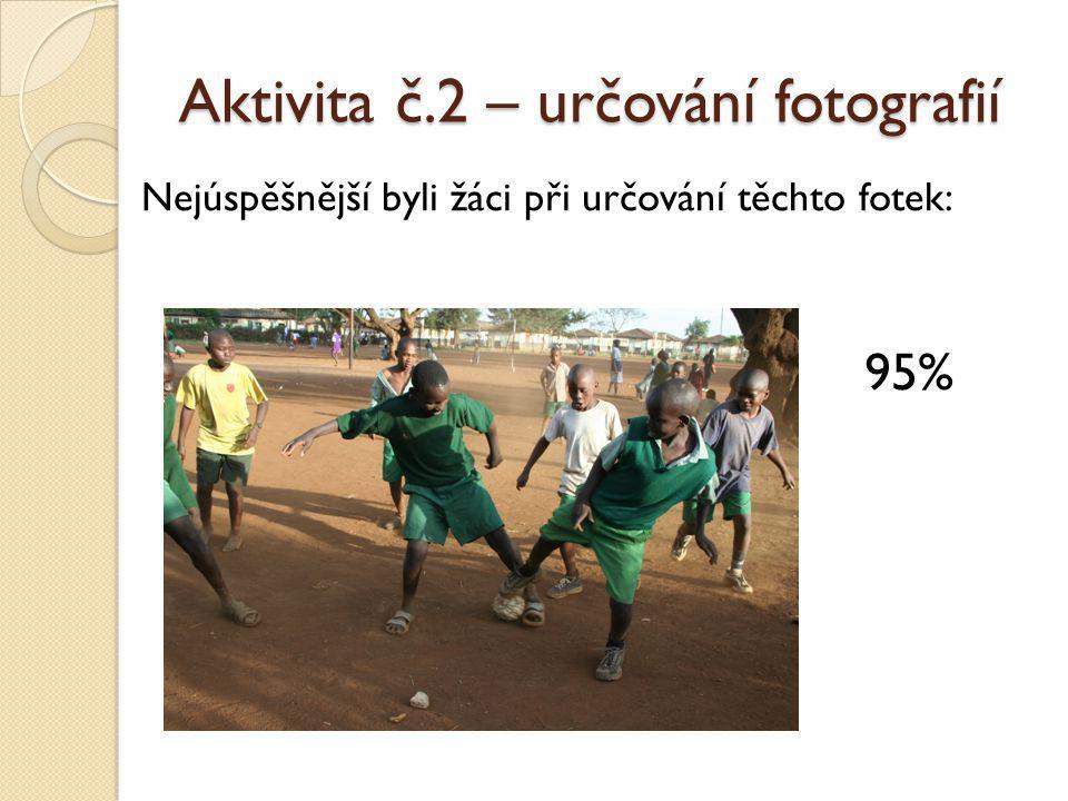 Aktivita č.2 – určování fotografií Nejúspěšnější byli žáci při určování těchto fotek: 95%