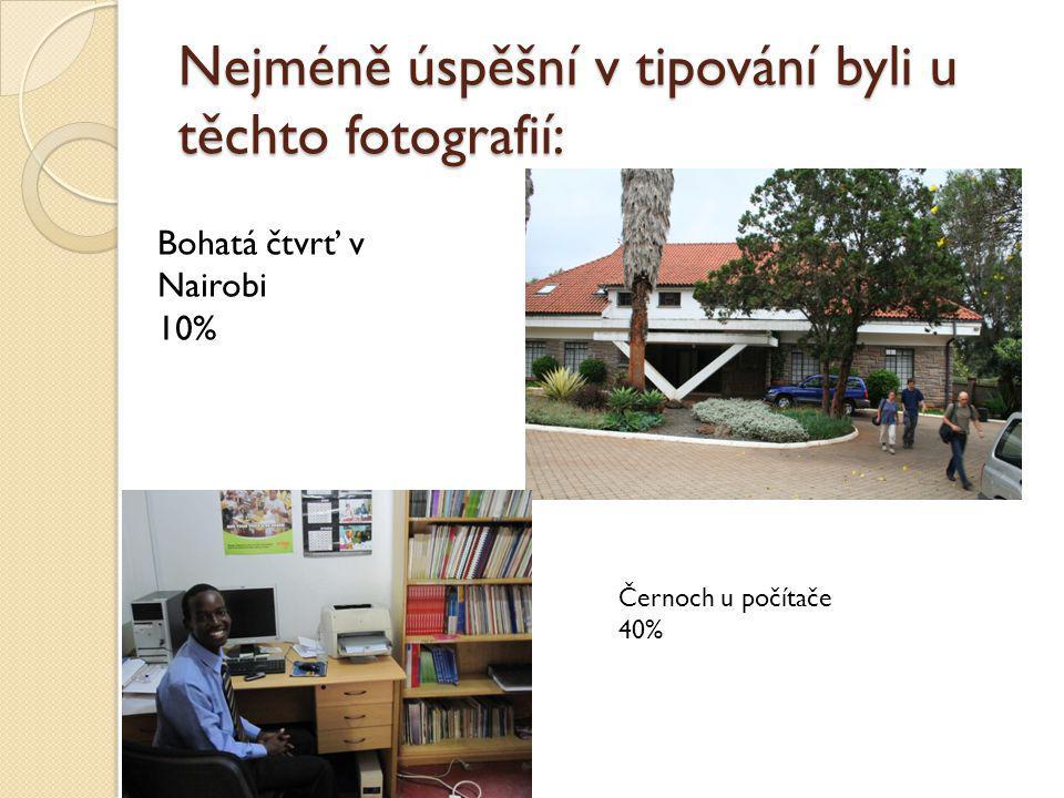 Nejméně úspěšní v tipování byli u těchto fotografií: Bohatá čtvrť v Nairobi 10% Černoch u počítače 40%