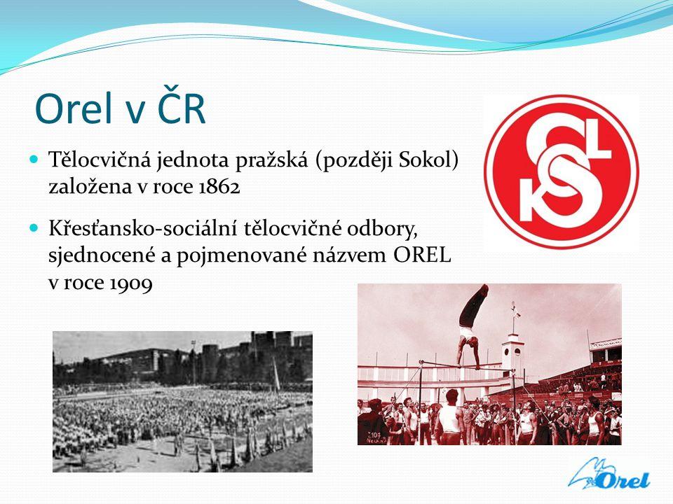 Orel v ČR  Tělocvičná jednota pražská (později Sokol) založena v roce 1862  Křesťansko-sociální tělocvičné odbory, sjednocené a pojmenované názvem O