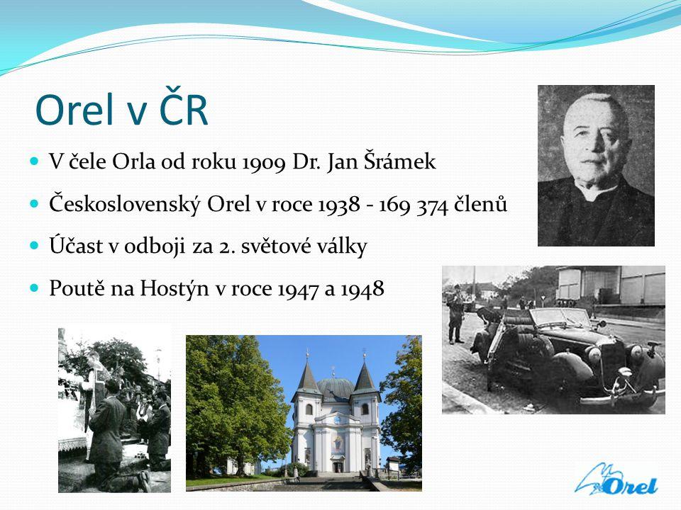 Orel v ČR  V čele Orla od roku 1909 Dr. Jan Šrámek  Československý Orel v roce 1938 - 169 374 členů  Účast v odboji za 2. světové války  Poutě na