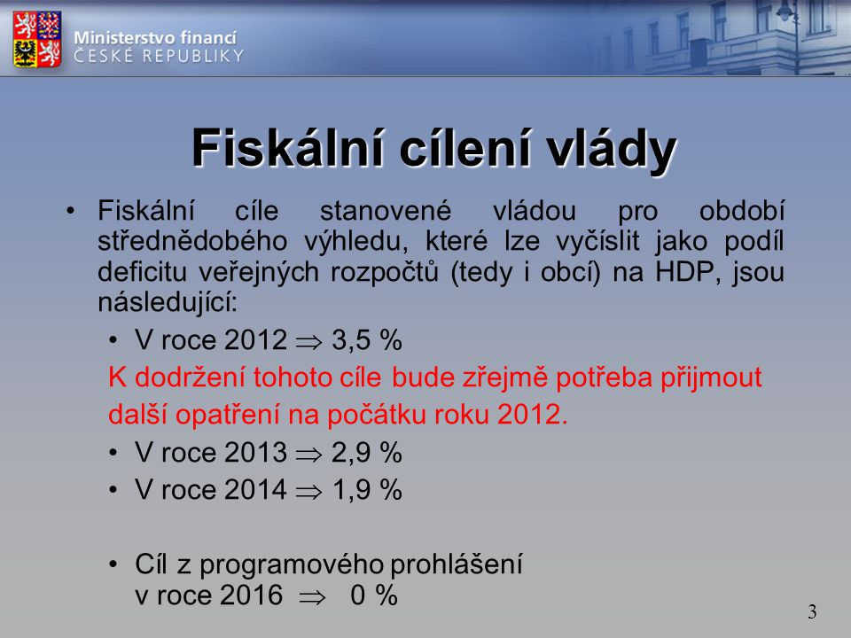 3 •Fiskální cíle stanovené vládou pro období střednědobého výhledu, které lze vyčíslit jako podíl deficitu veřejných rozpočtů (tedy i obcí) na HDP, js