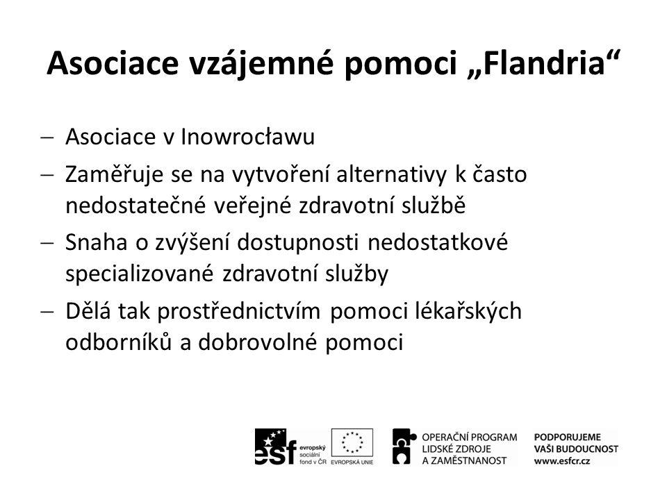 """Asociace vzájemné pomoci """"Flandria  Misí asociace """"Flandria je zajistit, aby peníze nebyly překážkou ke zdravotní péči  Každý z 9000 členů platí poplatek 0,5 eur ročně  Také jsou oprávněni k zakoupení individuální slevové karty, která dává 10% slevu v lékárnách (provozovaných asociací a partnerskou organizací), 30% slevu v soukromých specializovaných ordinací (které spolupracují s asociací) a 15% slevu v obchodech s rehabilitačním a ortopedickým vybavením"""