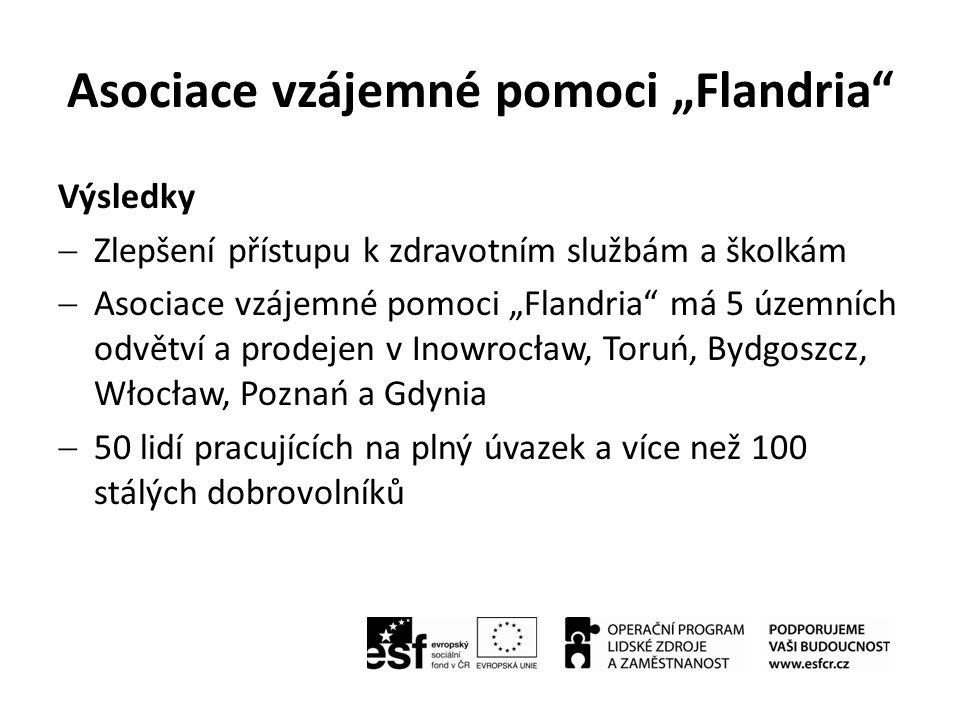 """Asociace vzájemné pomoci """"Flandria"""" Výsledky  Zlepšení přístupu k zdravotním službám a školkám  Asociace vzájemné pomoci """"Flandria"""" má 5 územních od"""