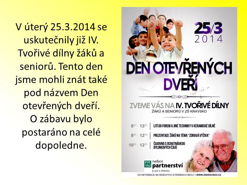 V úterý 25.3.2014 se uskutečnily již IV. Tvořivé dílny žáků a seniorů. Tento den jsme mohli znát také pod názvem Den otevřených dveří. O zábavu bylo p