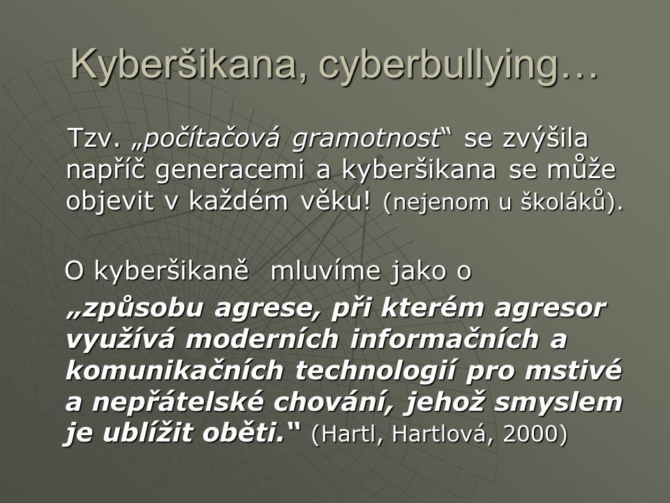 """Kyberšikana, cyberbullying… """"…komunikační jevy realizované prostřednictvím informačních a komunikačních technologií (např."""