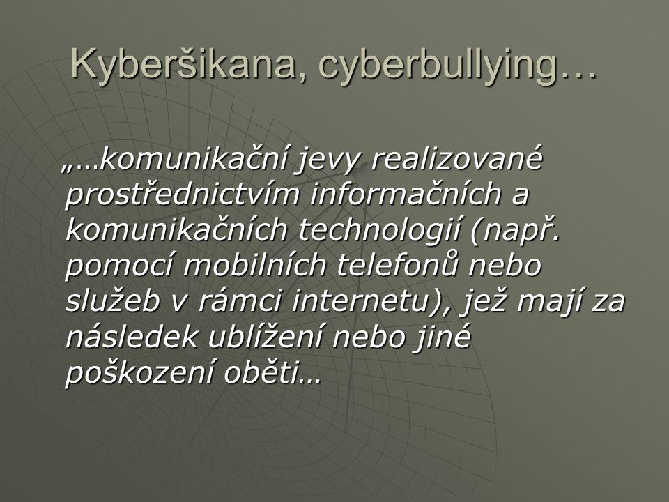 """Kyberšikana, cyberbullying… """"…komunikační jevy realizované prostřednictvím informačních a komunikačních technologií (např. pomocí mobilních telefonů n"""