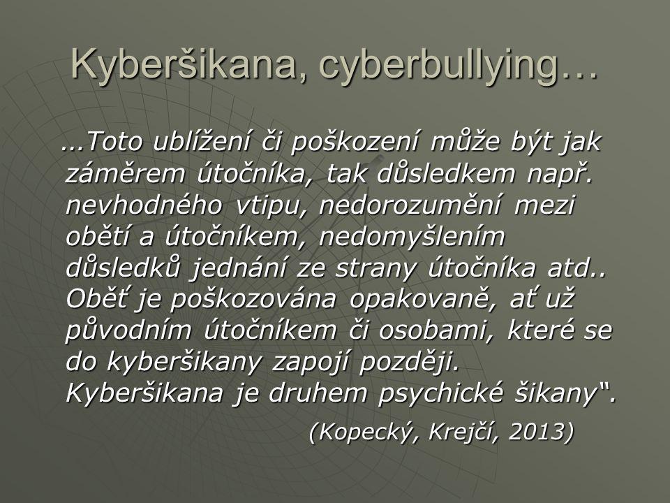 Kyberšikana, cyberbullying… … Toto ublížení či poškození může být jak záměrem útočníka, tak důsledkem např. nevhodného vtipu, nedorozumění mezi obětí