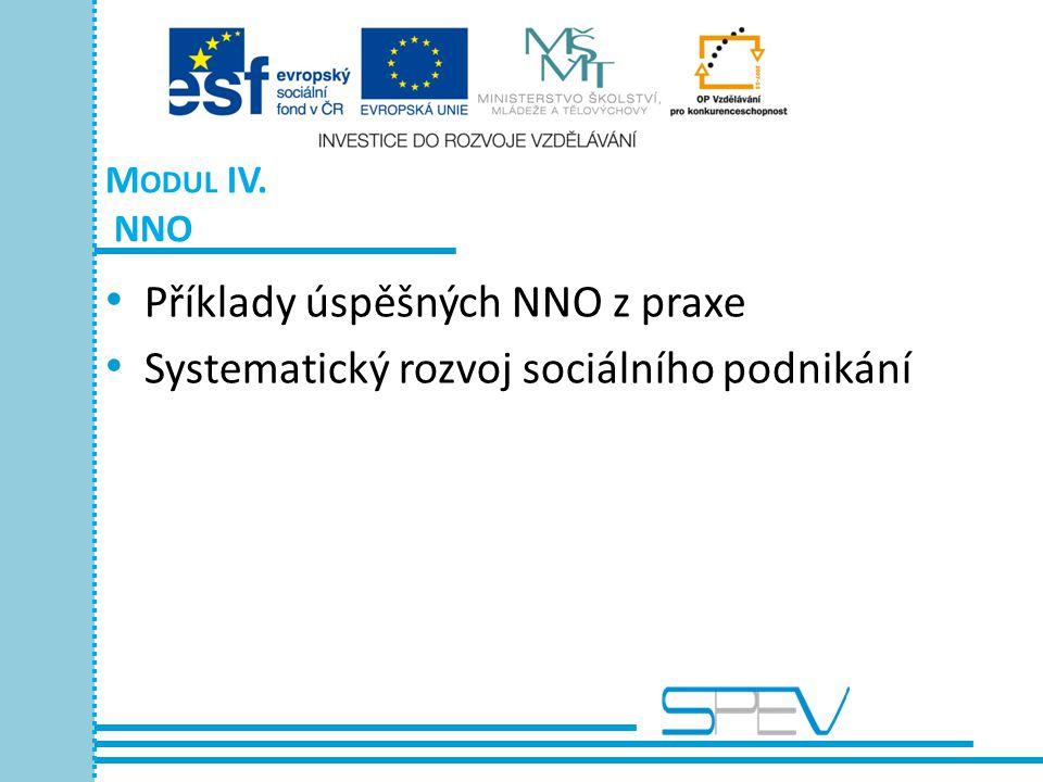 M ODUL IV. NNO • Příklady úspěšných NNO z praxe • Systematický rozvoj sociálního podnikání