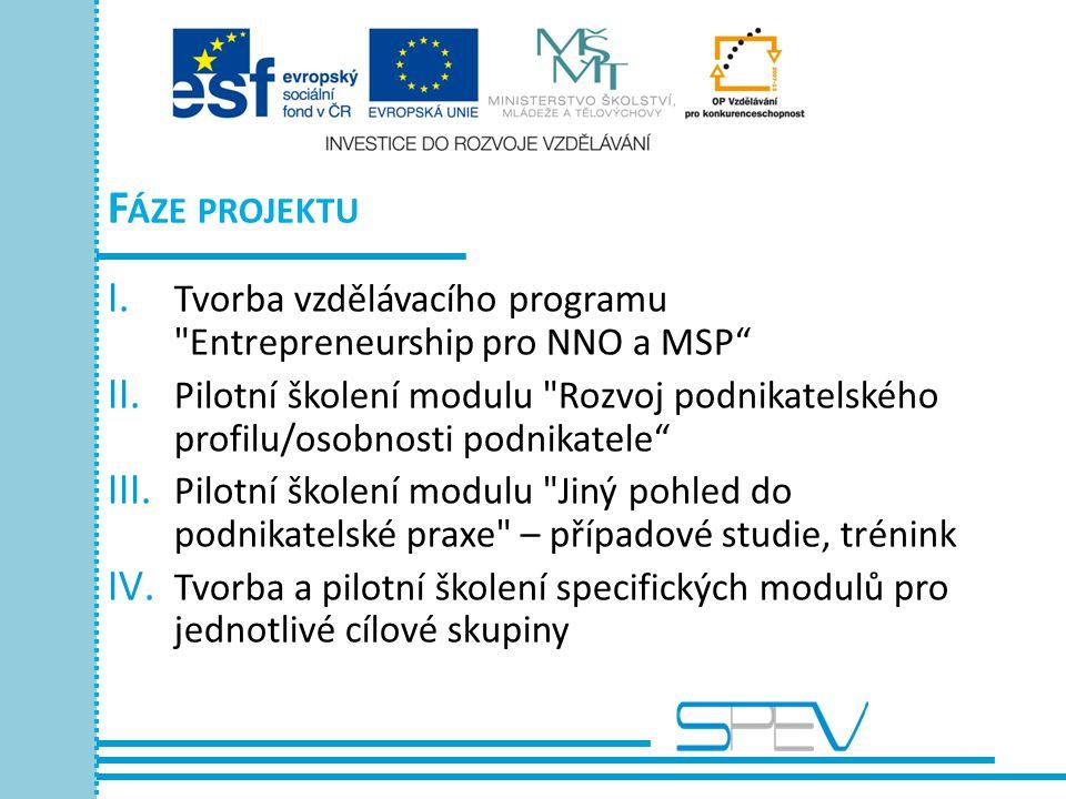 F ÁZE PROJEKTU I. Tvorba vzdělávacího programu Entrepreneurship pro NNO a MSP II.