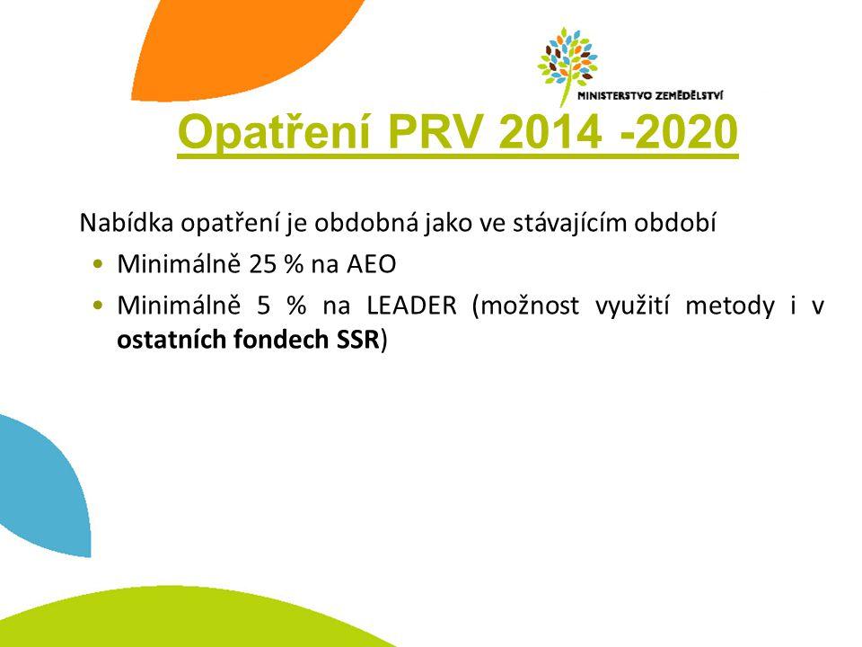 Opatření PRV 2014 -2020 Nabídka opatření je obdobná jako ve stávajícím období •Minimálně 25 % na AEO •Minimálně 5 % na LEADER (možnost využití metody i v ostatních fondech SSR)
