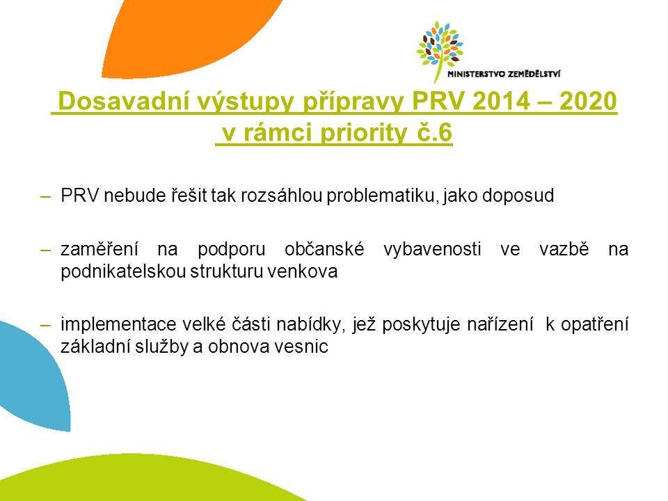 Dosavadní výstupy přípravy PRV 2014 – 2020 v rámci priority č.6 –PRV nebude řešit tak rozsáhlou problematiku, jako doposud –zaměření na podporu občans
