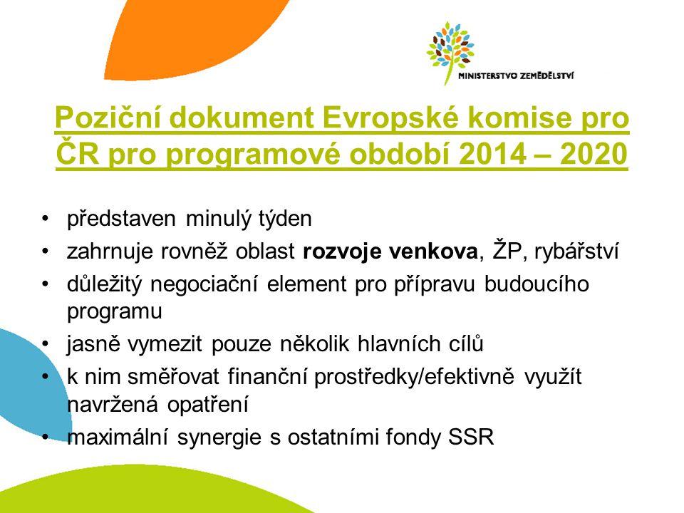 Poziční dokument Evropské komise pro ČR pro programové období 2014 – 2020 •představen minulý týden •zahrnuje rovněž oblast rozvoje venkova, ŽP, rybářs