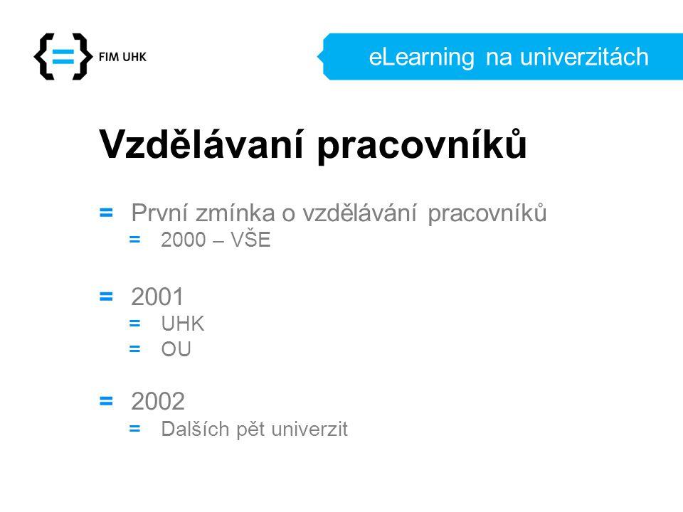 eLearning na univerzitách Vzdělávaní pracovníků = První zmínka o vzdělávání pracovníků = 2000 – VŠE = 2001 = UHK = OU = 2002 = Dalších pět univerzit