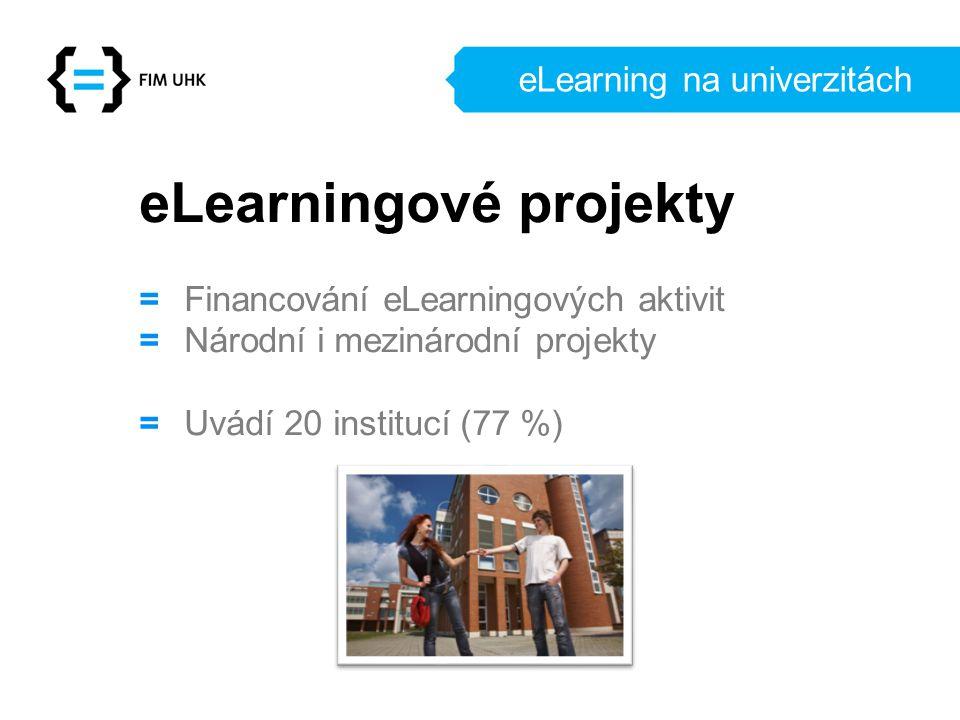eLearning na univerzitách eLearningové projekty = Financování eLearningových aktivit = Národní i mezinárodní projekty = Uvádí 20 institucí (77 %)