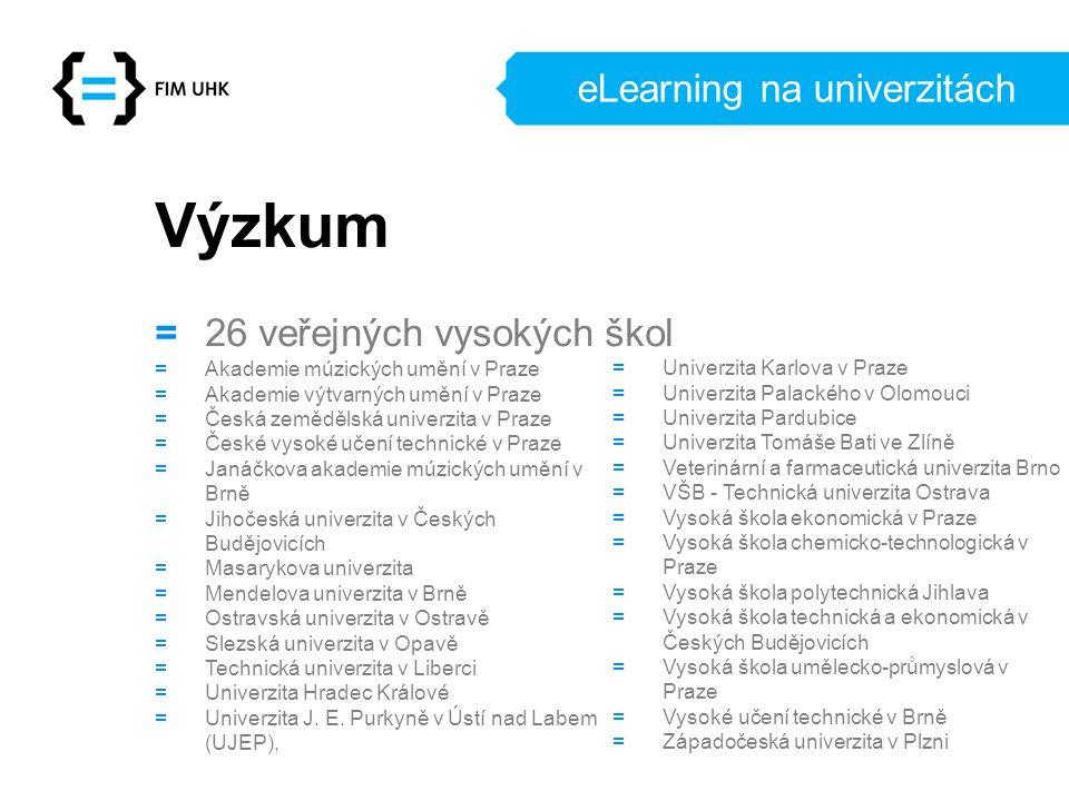 eLearning na univerzitách Výzkum = 26 veřejných vysokých škol = Akademie múzických umění v Praze = Akademie výtvarných umění v Praze = Česká zemědělsk
