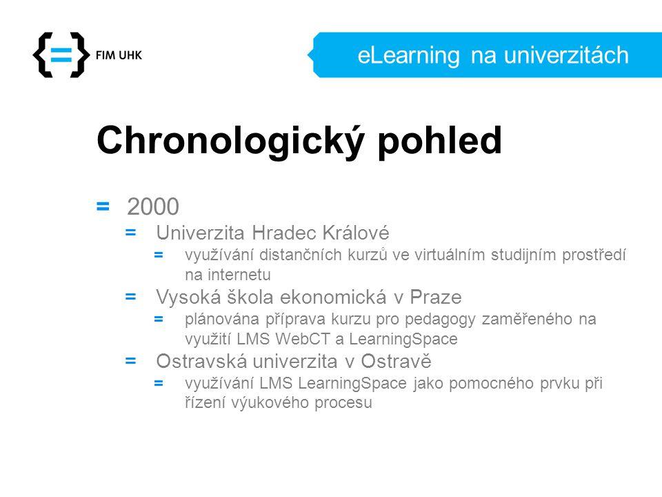 eLearning na univerzitách Chronologický pohled = 2000 = Univerzita Hradec Králové = využívání distančních kurzů ve virtuálním studijním prostředí na i