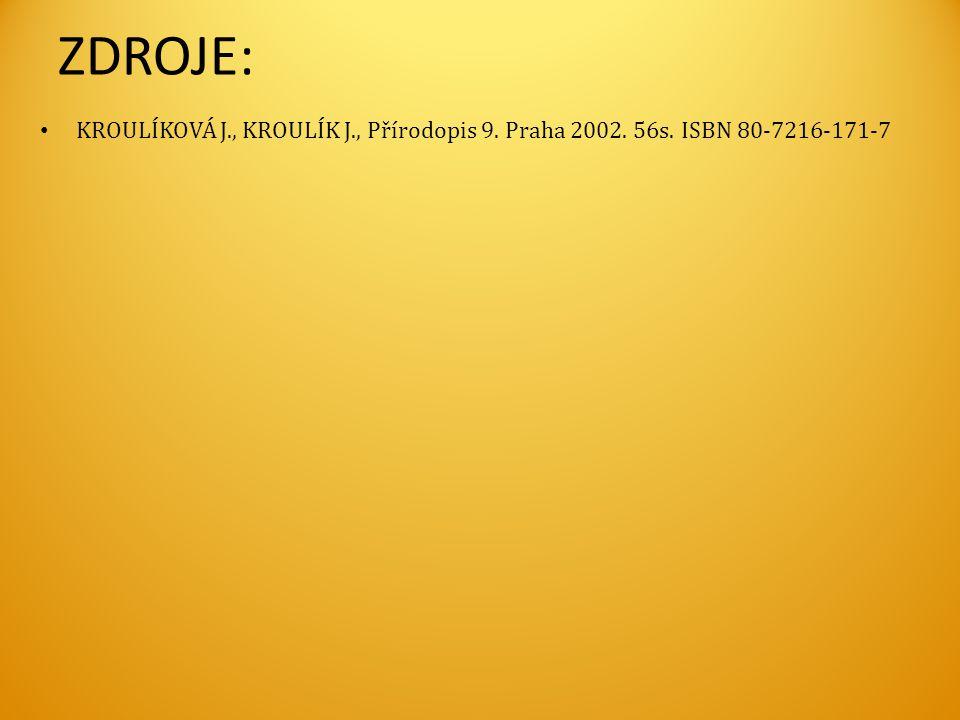 ZDROJE: • KROULÍKOVÁ J., KROULÍK J., Přírodopis 9. Praha 2002. 56s. ISBN 80-7216-171-7