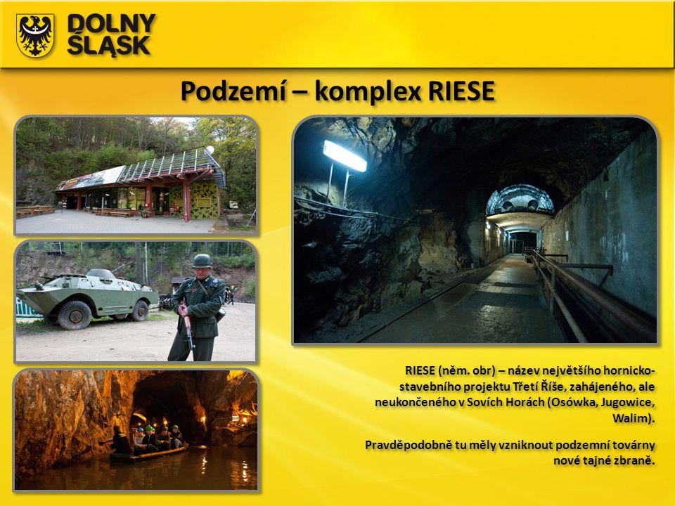 Podzemí – komplex RIESE RIESE (něm. obr) – název největšího hornicko- stavebního projektu Třetí Říše, zahájeného, ale neukončeného v Sovích Horách (Os