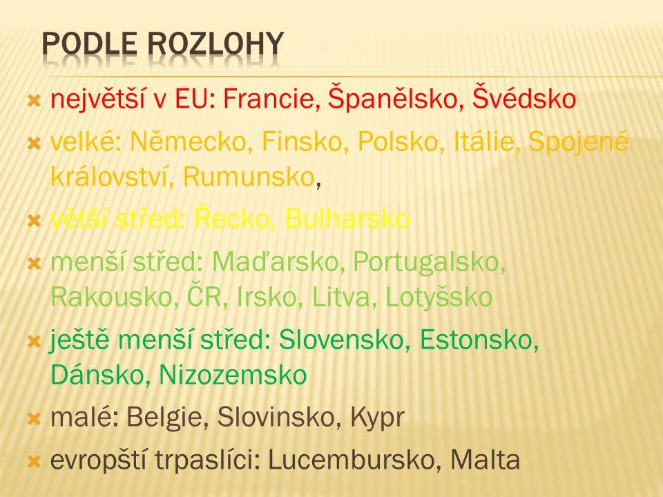  největší v EU: Francie, Španělsko, Švédsko  velké: Německo, Finsko, Polsko, Itálie, Spojené království, Rumunsko,  větší střed: Řecko, Bulharsko  menší střed: Maďarsko, Portugalsko, Rakousko, ČR, Irsko, Litva, Lotyšsko  ještě menší střed: Slovensko, Estonsko, Dánsko, Nizozemsko  malé: Belgie, Slovinsko, Kypr  evropští trpaslíci: Lucembursko, Malta