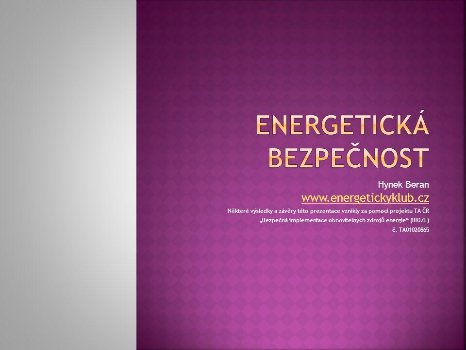 """Hynek Beran www.energetickyklub.cz Některé výsledky a závěry této prezentace vznikly za pomoci projektu TA ČR """"Bezpečná implementace obnovitelných zdr"""