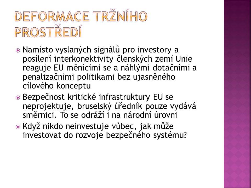  Namísto vyslaných signálů pro investory a posílení interkonektivity členských zemí Unie reaguje EU měnícími se a náhlými dotačními a penalizačními p