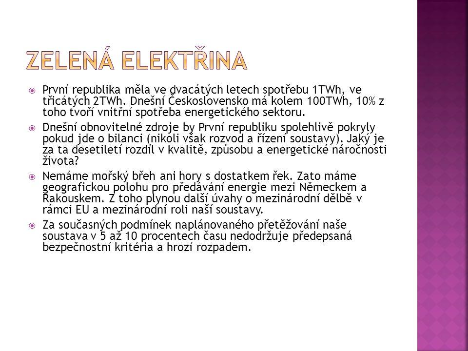  První republika měla ve dvacátých letech spotřebu 1TWh, ve třicátých 2TWh. Dnešní Československo má kolem 100TWh, 10% z toho tvoří vnitřní spotřeba